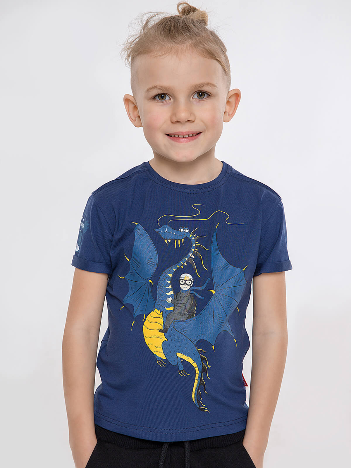 Kids T-Shirt Dragon. Color navy blue. T-shirt: unisex, well suited for both boys and girls.