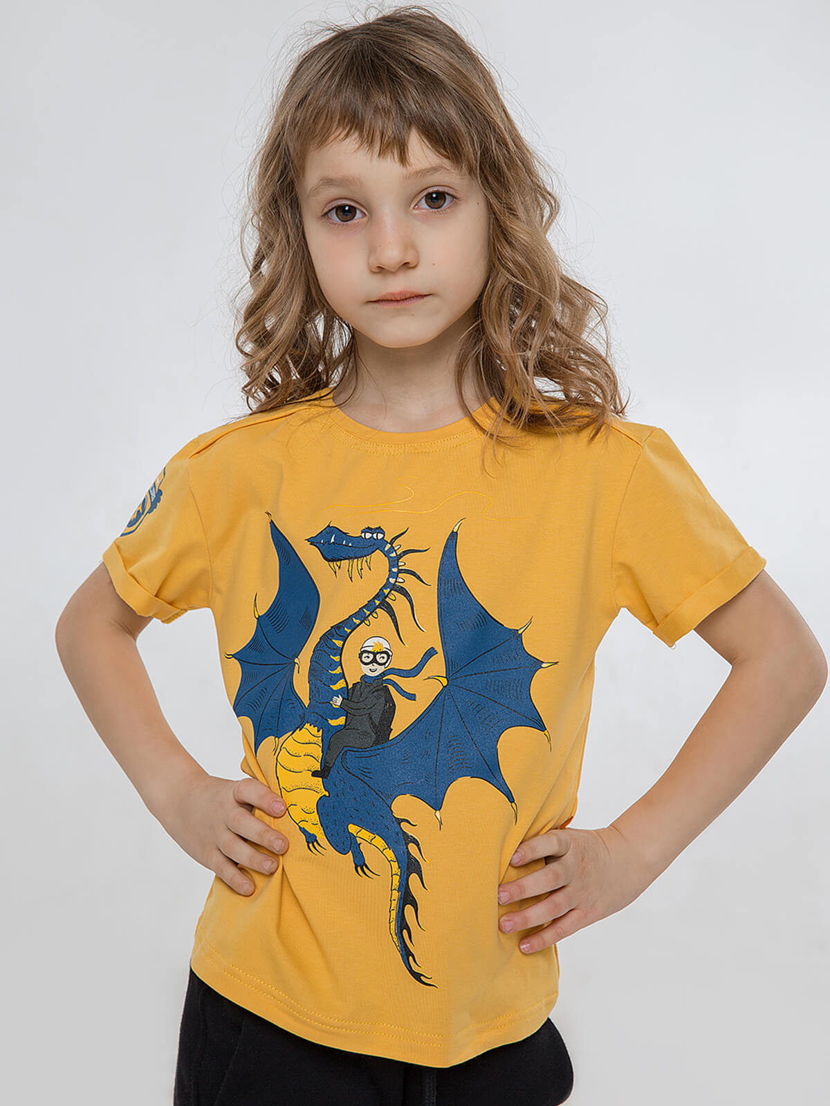 Kids T-Shirt Dragon. Color yellow. T-shirt: unisex, well suited for both boys and girls.