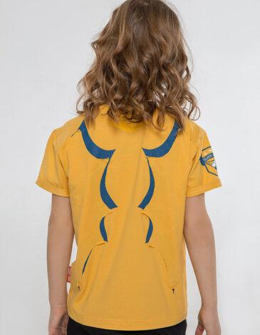 Дитяча Футболка Дракон. Колір жовтий.  Технологія нанесення зображень: шовкодрук, зображення світиться вночі.