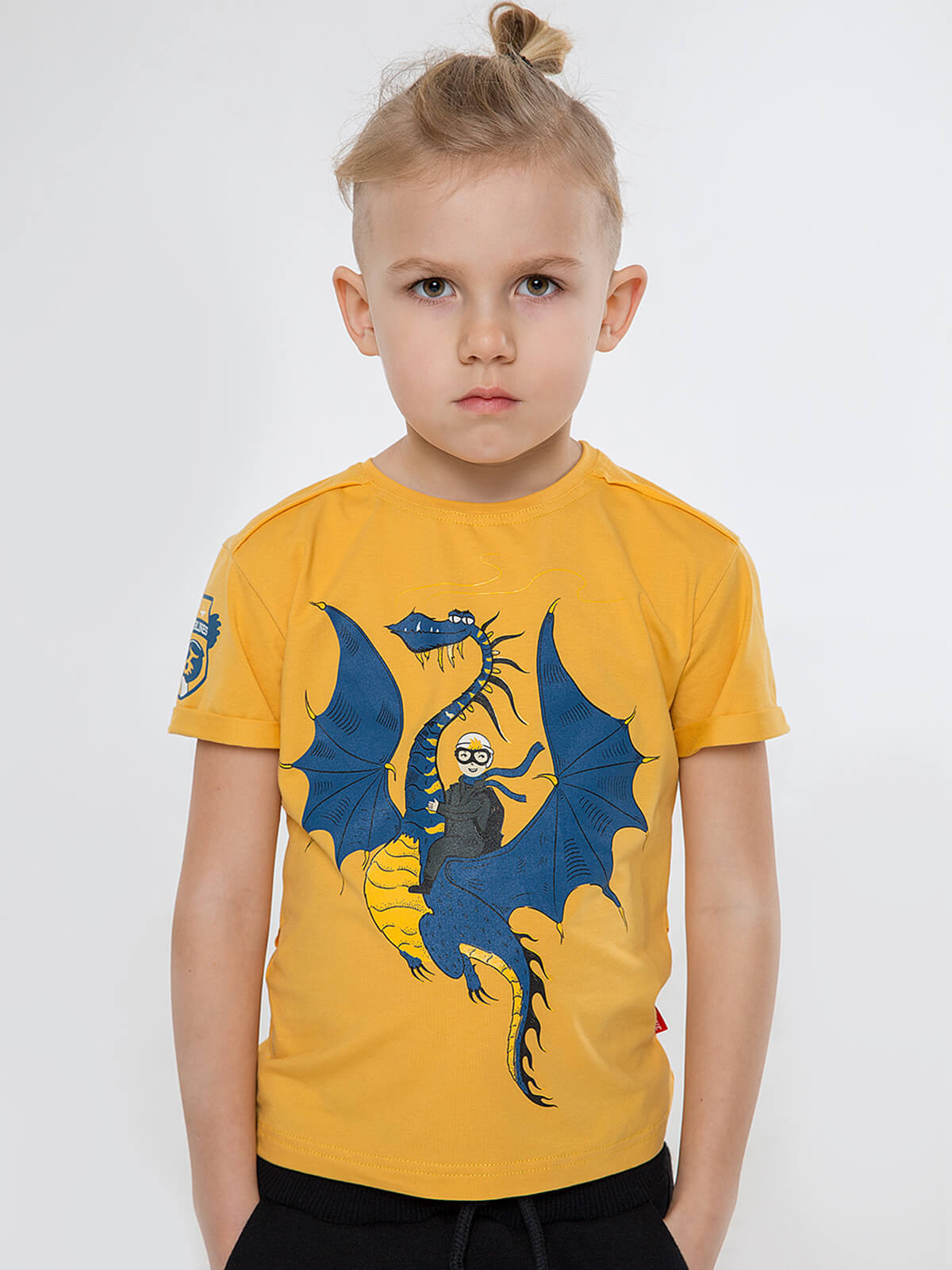 Kids T-Shirt Dragon. Color yellow.  The color shades on your screen may differ from the original color.