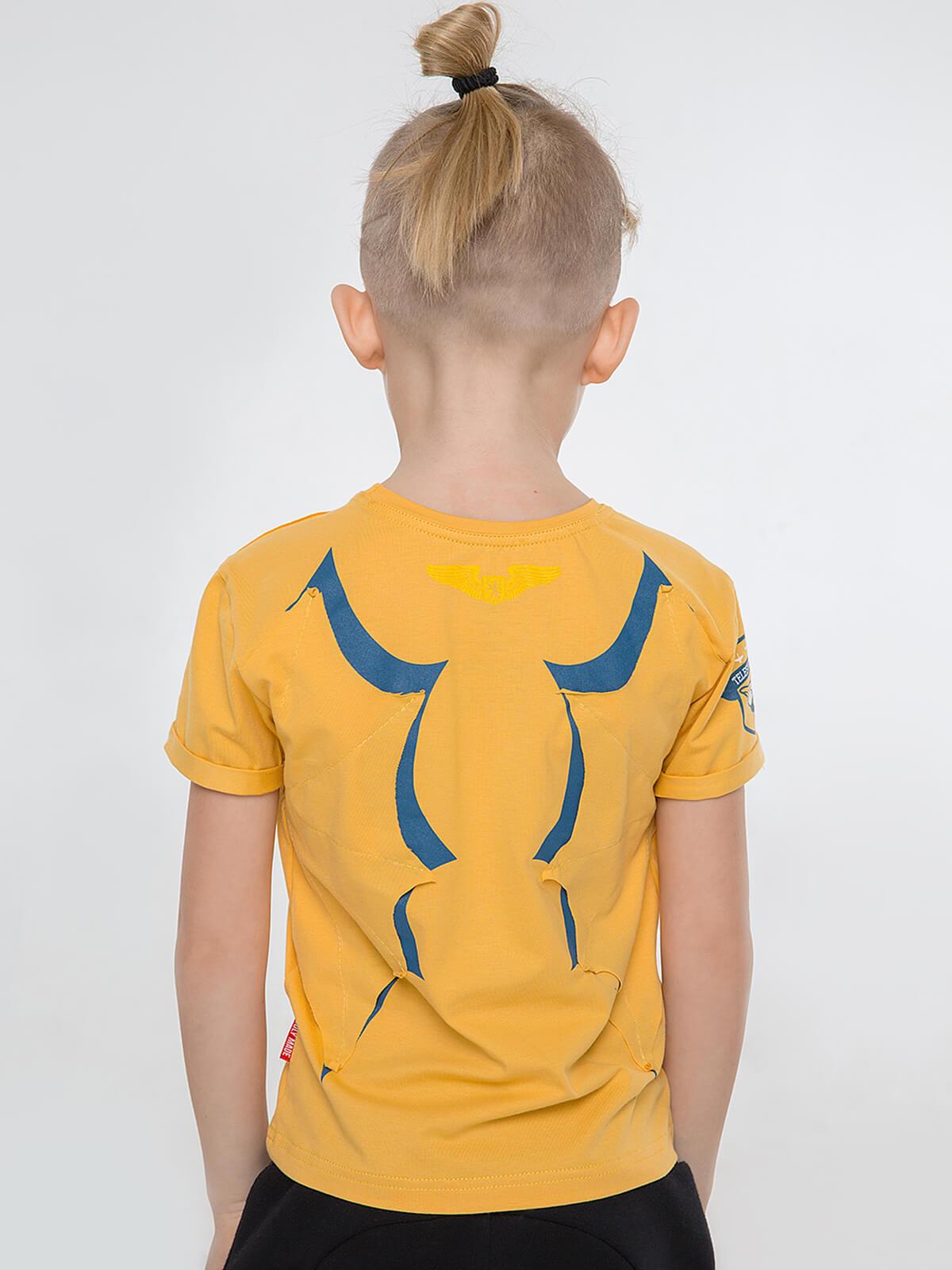 Kids T-Shirt Dragon. Color yellow. .