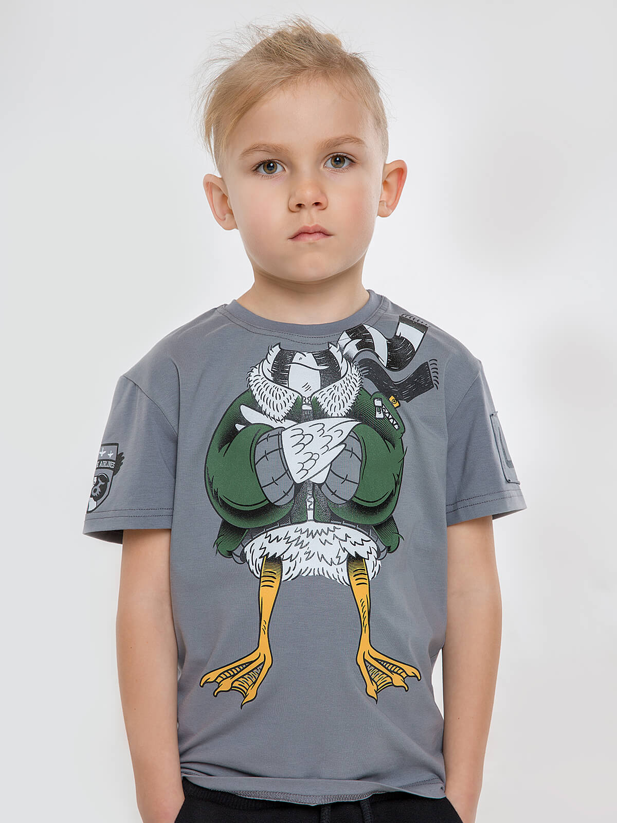 Kids T-Shirt Goose. Color gray. Material: 95% cotton, 5% spandex.