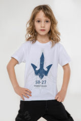 Kids T-Shirt Su-27. Material: 95% cotton, 5% spandex.