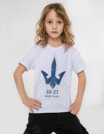 Дитяча Футболка Su-27. Колір білий. 95% бавовна, 5% спандекс  Відтінки кольорів на вашому екрані можуть відрізнятися від кольору оригіналу.