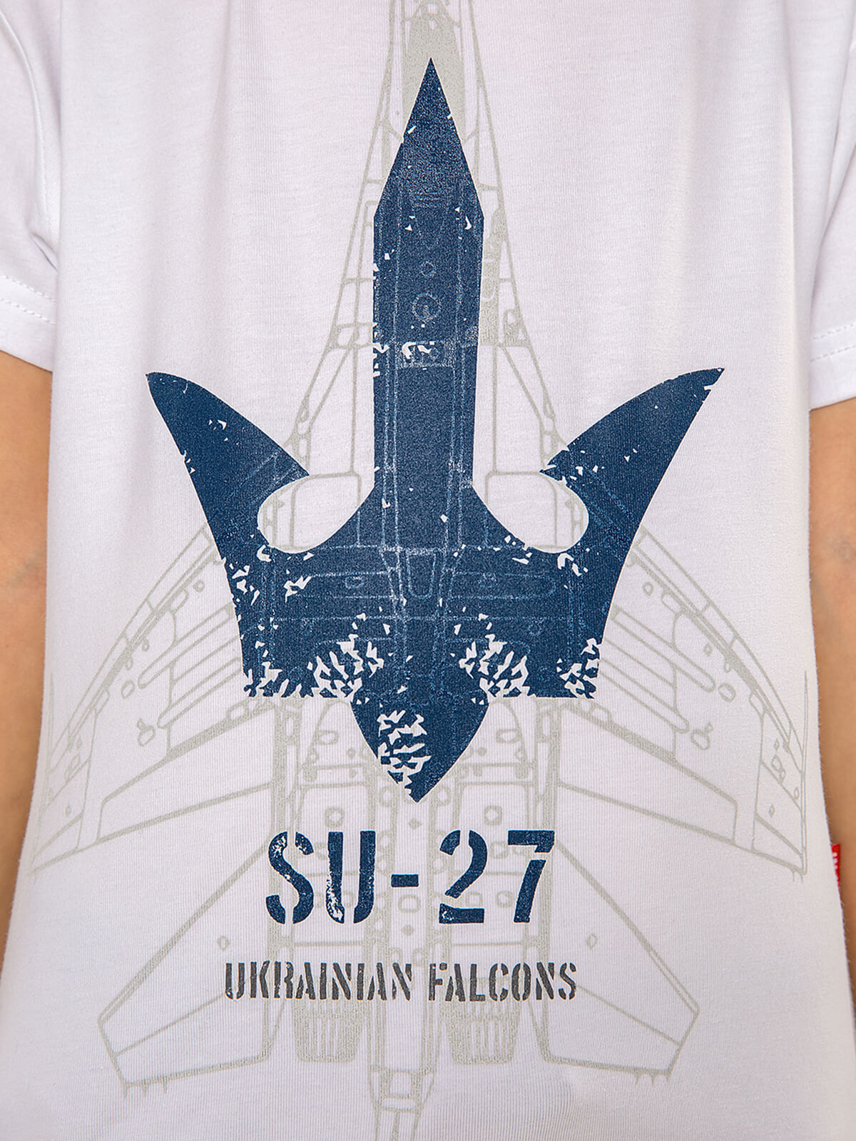 Kids T-Shirt Su-27. Color white.  The color shades on your screen may differ from the original color.