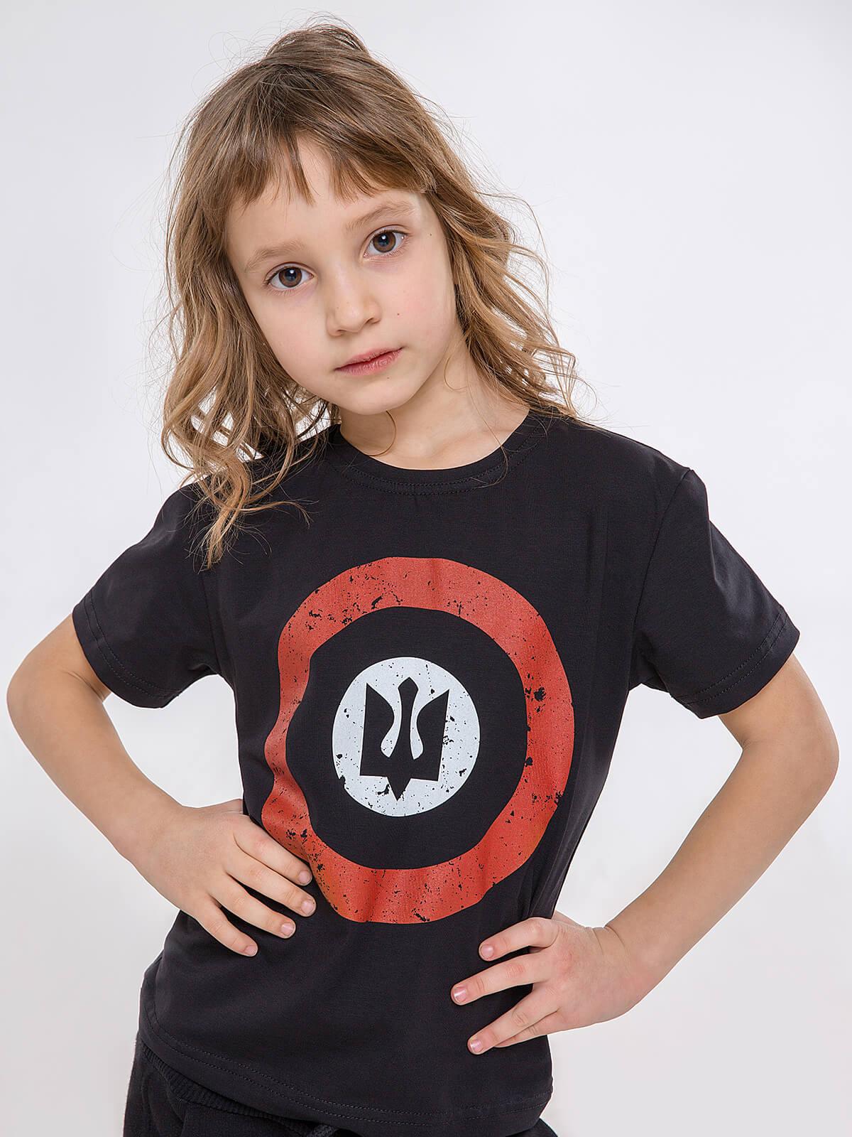Дитяча Футболка Рондель. Колір чорний.   Технологія нанесення зображень: шовкодрук.