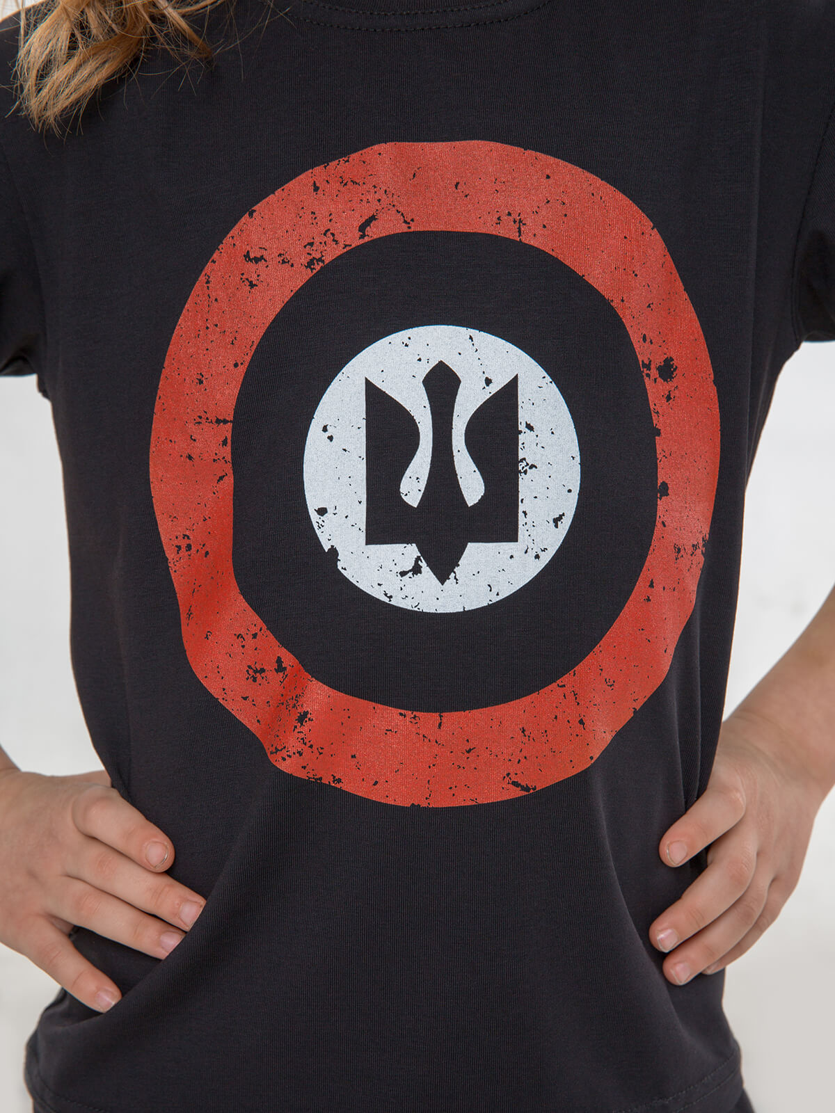 Kids T-Shirt Roundel. Color black. .