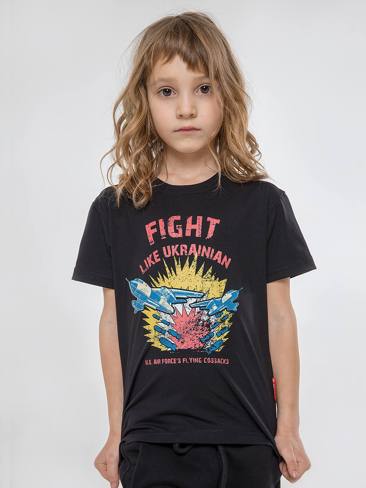 Kids T-Shirt Fight Like Ukrainian. Color black.  The color shades on your screen may differ from the original color.