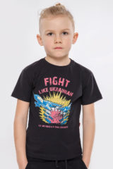 Kids T-Shirt Fight Like Ukrainian. Material: 95% cotton, 5% spandex.