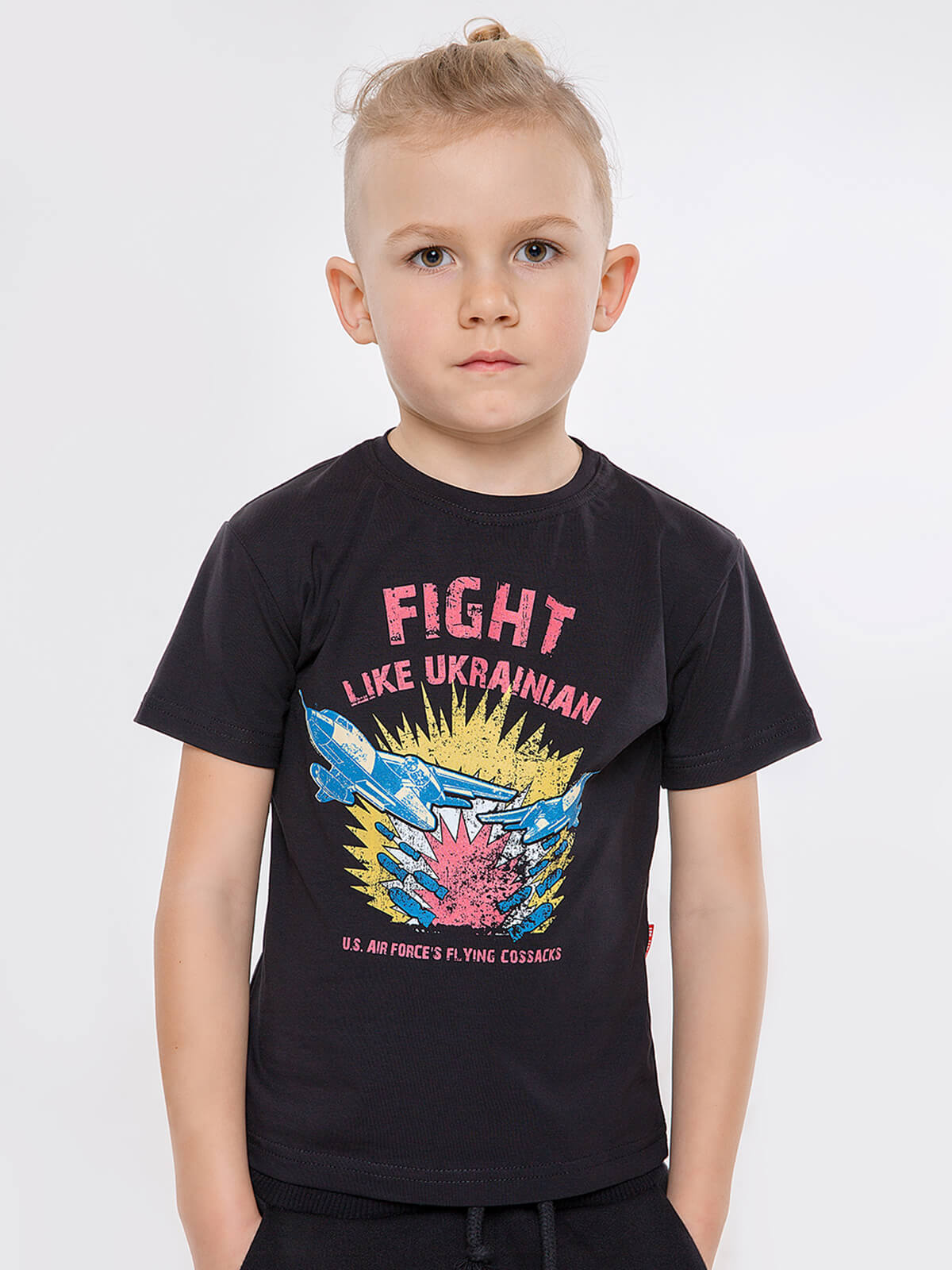 Kids T-Shirt Fight Like Ukrainian. Color black. Material: 95% cotton, 5% spandex.
