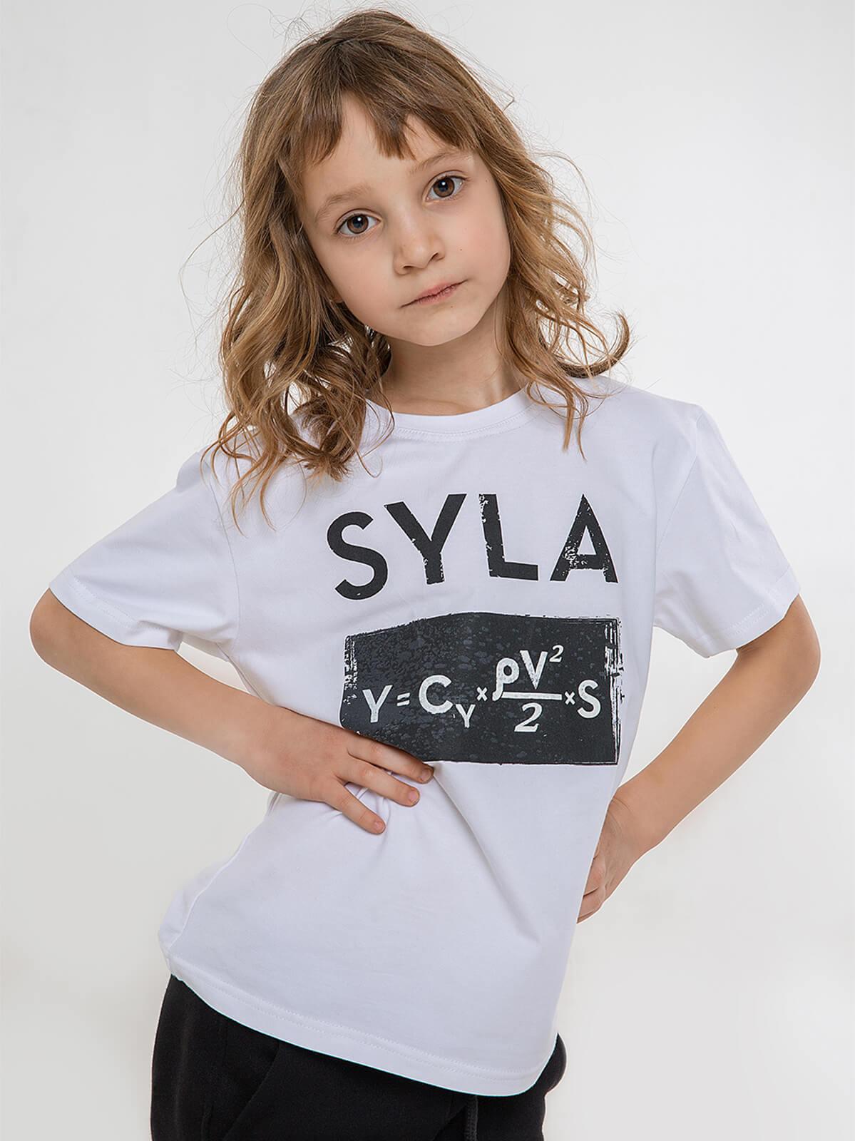 Kids T-Shirt Syla. Color white. Material: 95% cotton, 5% spandex.