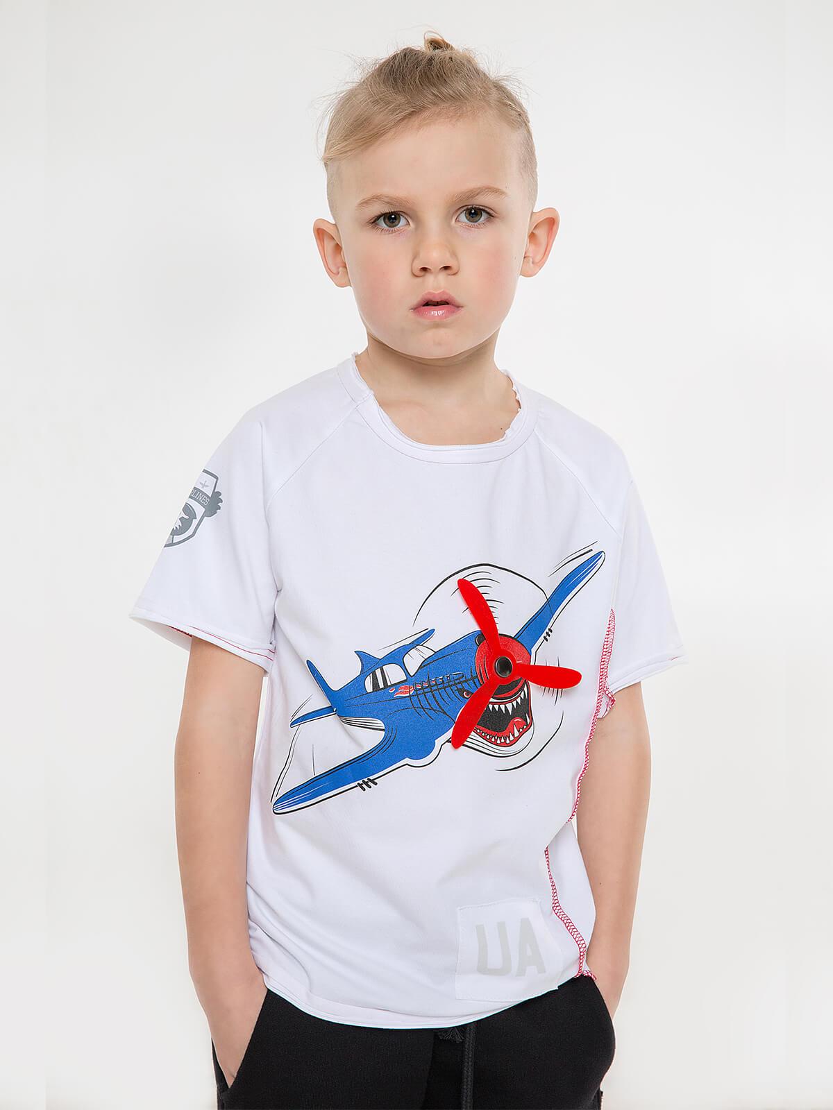Дитяча Футболка Акула. Колір білий. Футболка: унісекс, добре пасує і хлопчикам, і дівчаткам  Матеріал: 95% бавовна, 5% спандекс.