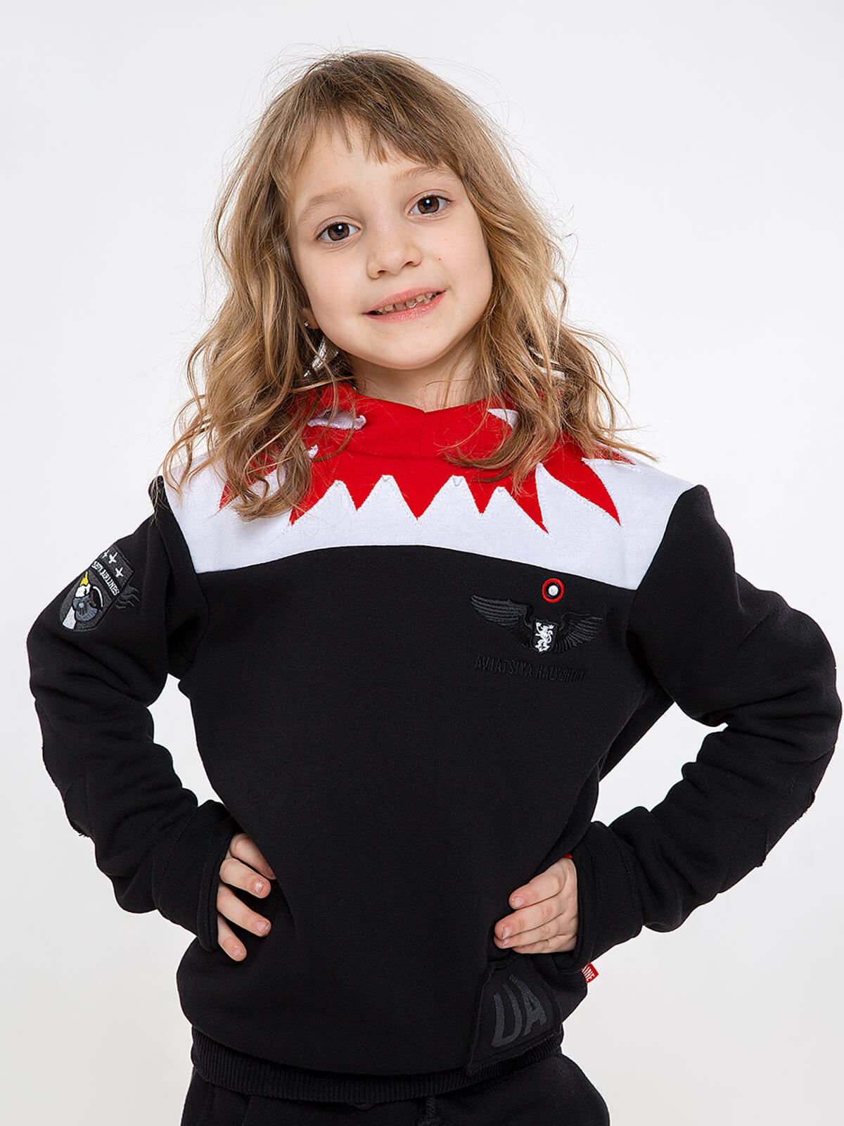 Kids Hoodie Jaws. Color black.  Material of the hoodie – three-cord thread fabric: 77% cotton, 23% polyester.