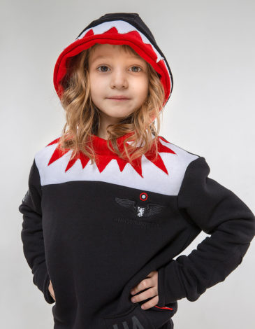 Kids Hoodie Jaws. Color black. Hoodie: unisex, well suited for both boys and girls.