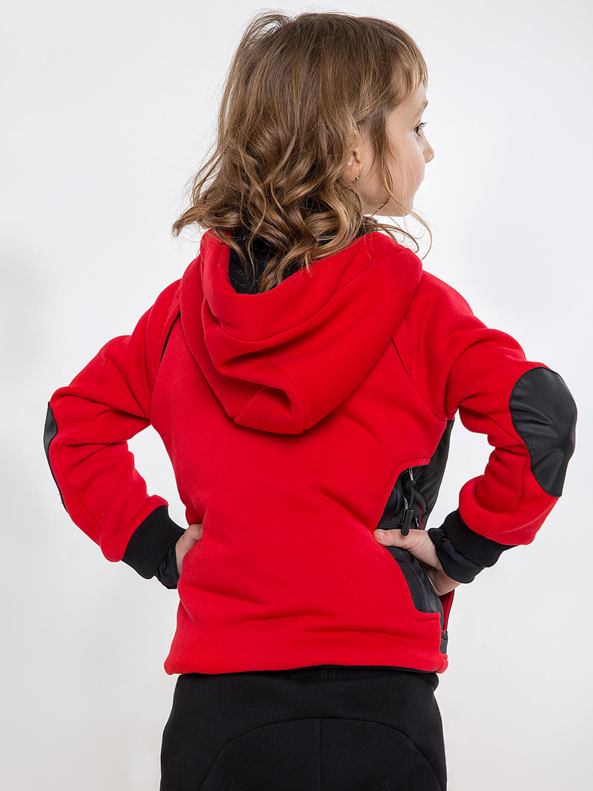 Kids Hoodie Syla. Color red.  Well suited for both boys and girls.