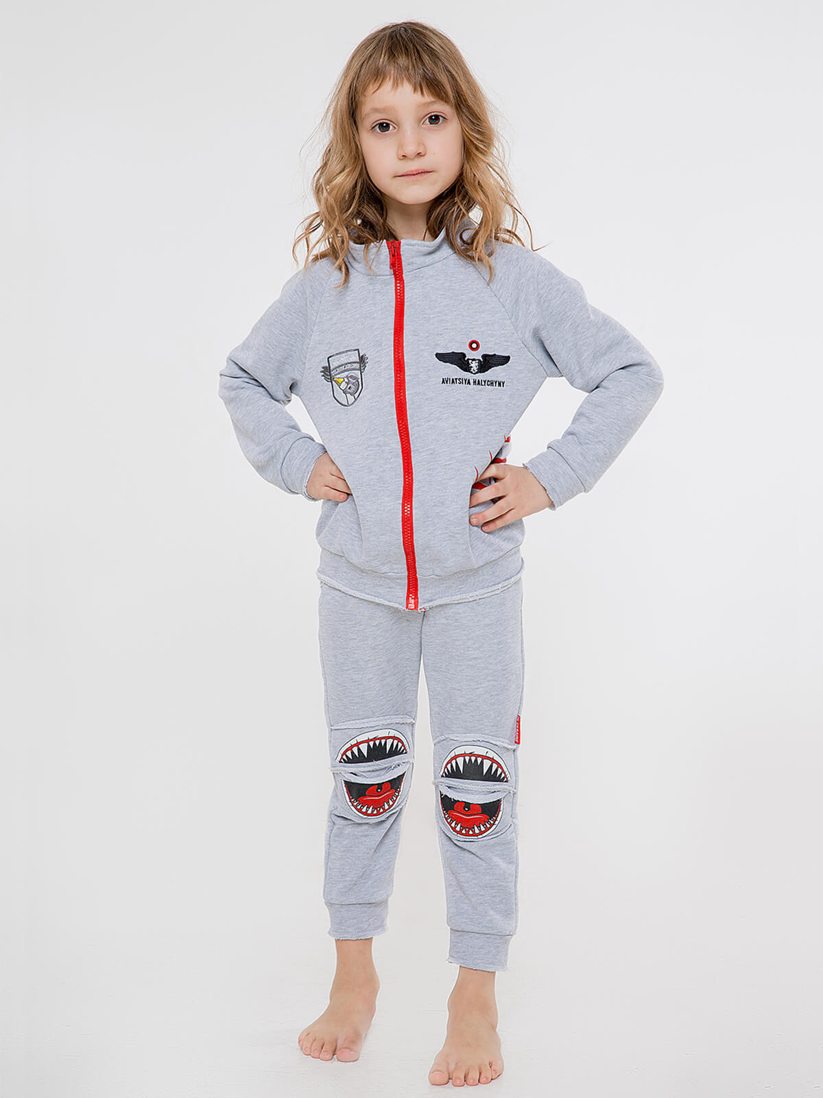 Kids Sport Suit Shark. Color gray. Sport suit: unisex, well suited for both boys and girls.