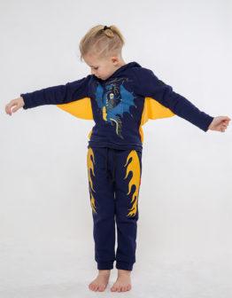 Kids Trousers Dragon. Color dark blue. Штани: унісекс, добре пасують і хлопчикам, і дівчаткам  Матеріал: 79% бавовна, 21% поліефір  Технологія нанесення зображень: нашивки.