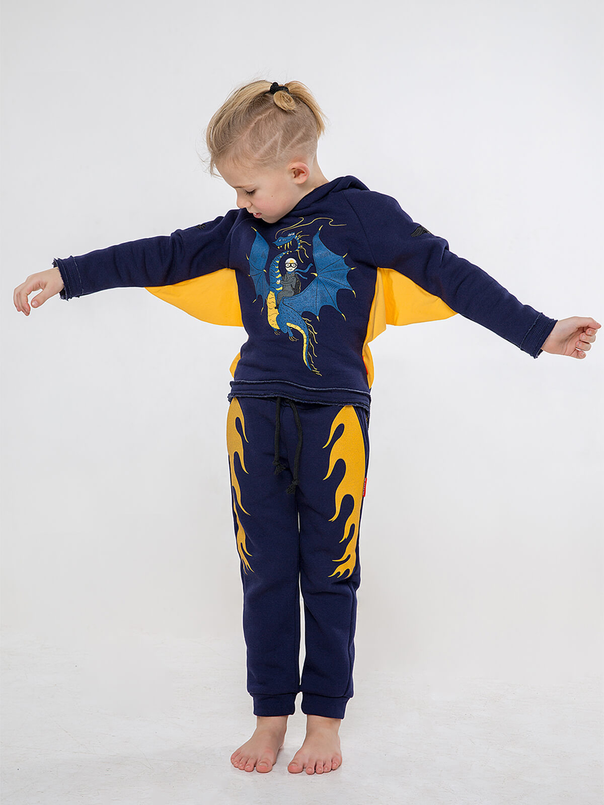 Kids Hoodie Dragon. Color dark blue. .