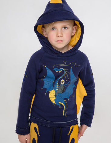 Kids Hoodie Dragon. Color dark blue.  Material of the hoodie – three-cord thread fabric: 77% cotton, 23% polyester.