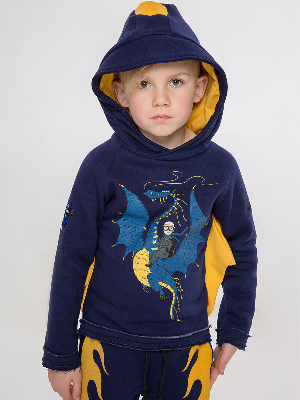 Kids Hoodie Dragon. Color dark blue. Hoodie: unisex, well suited for both boys and girls.