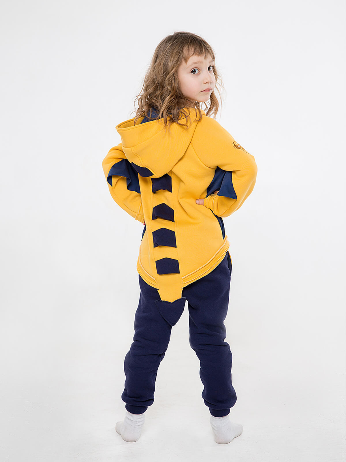 Kids Hoodie Dragon. Color yellow. 4.