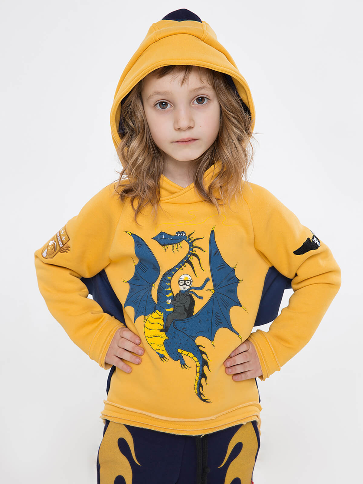 Kids Hoodie Dragon. Color yellow. Hoodie: unisex, well suited for both boys and girls.