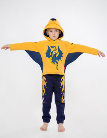 Kids Trousers Dragon. Color dark blue. Pants: unisex, well suited for both boys and girls.