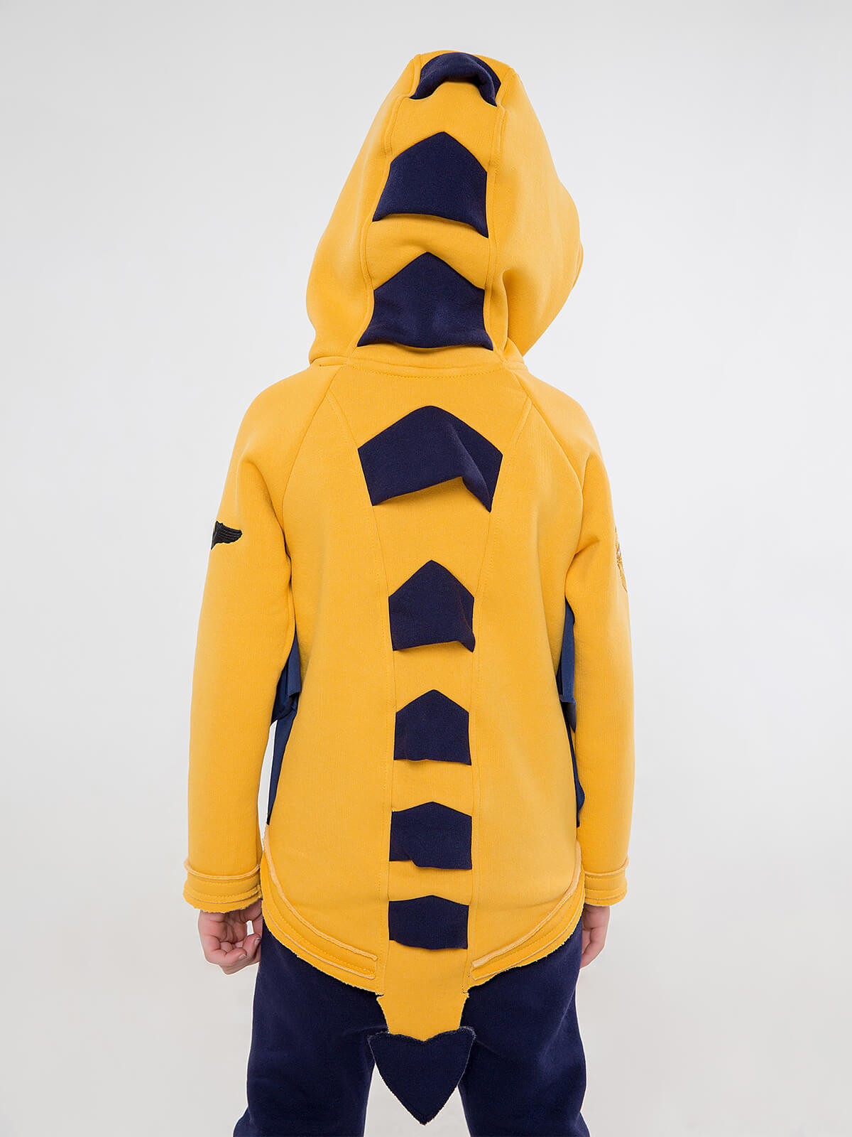 Kids Hoodie Dragon. Color yellow.  Material of the hoodie – three-cord thread fabric: 77% cotton, 23% polyester.