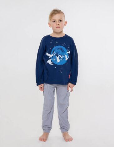 Kids Pajamas Geese. Color dark blue.  Technique of prints applied: silkscreen printing.