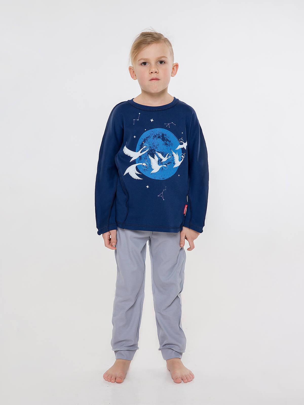 Дитяча Піжама Гуси. Колір темно-синій. Матеріал: 100% бавовна.