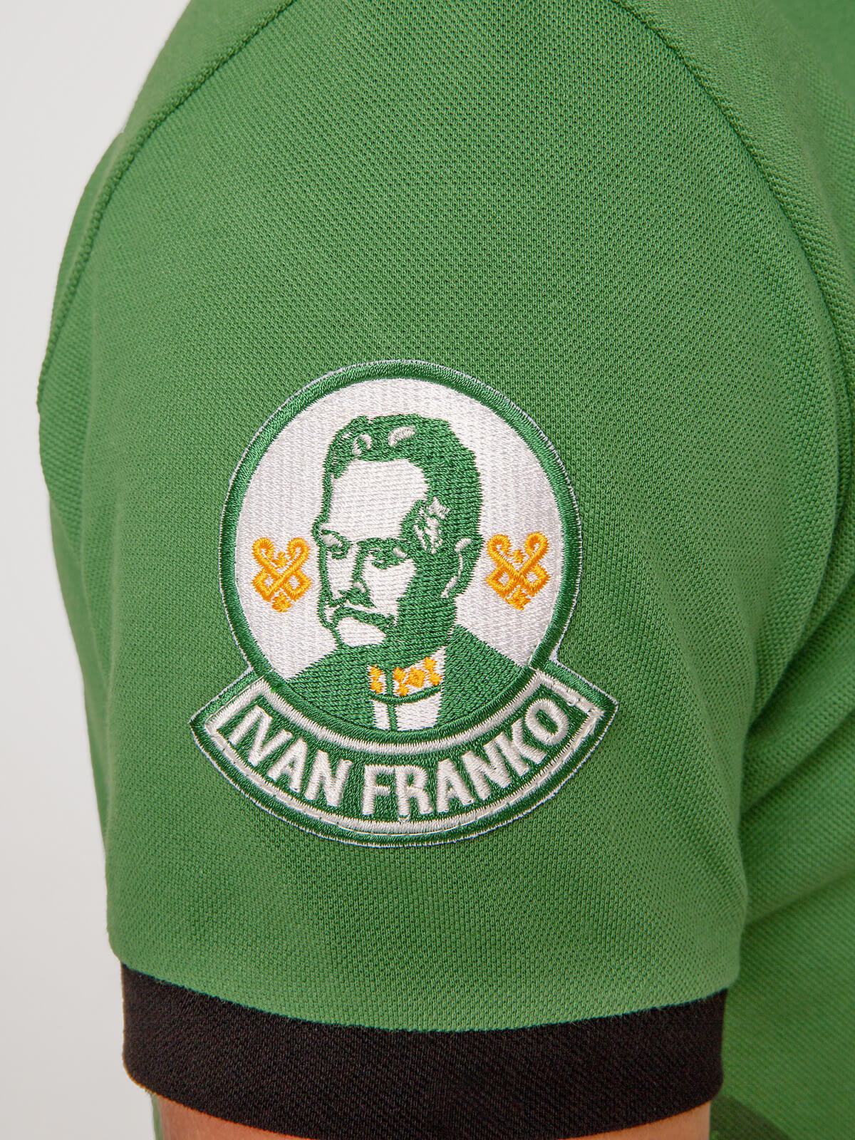 Men's Polo Shirt Ivan Franko. Color green.  Size worn by the model: М.