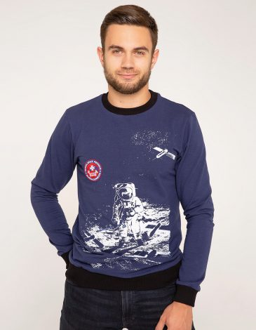 Men's Long Sleeve Hutsul Space Program. Color navy blue. Material: 75% cotton, 21% polyester, 4% spandex.