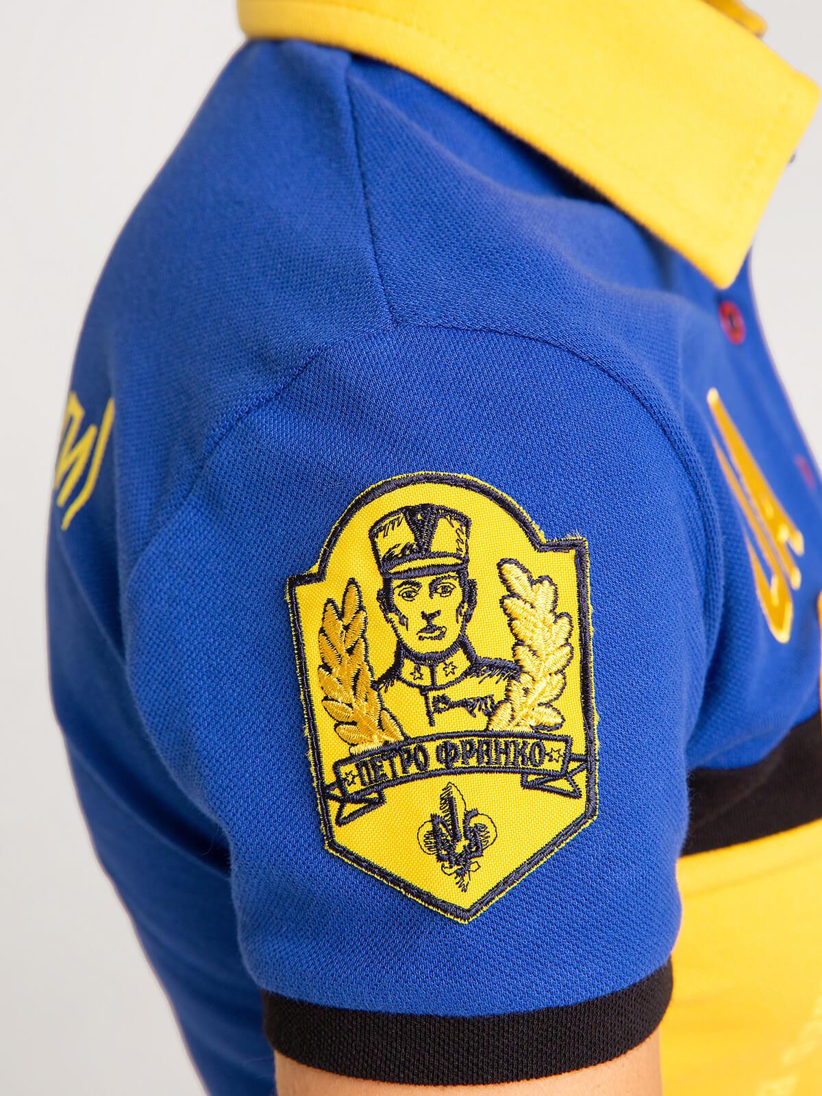 Жіноче Поло 7 Бригада (Петро Франко). Колір синій.  Розмір на моделі: S.