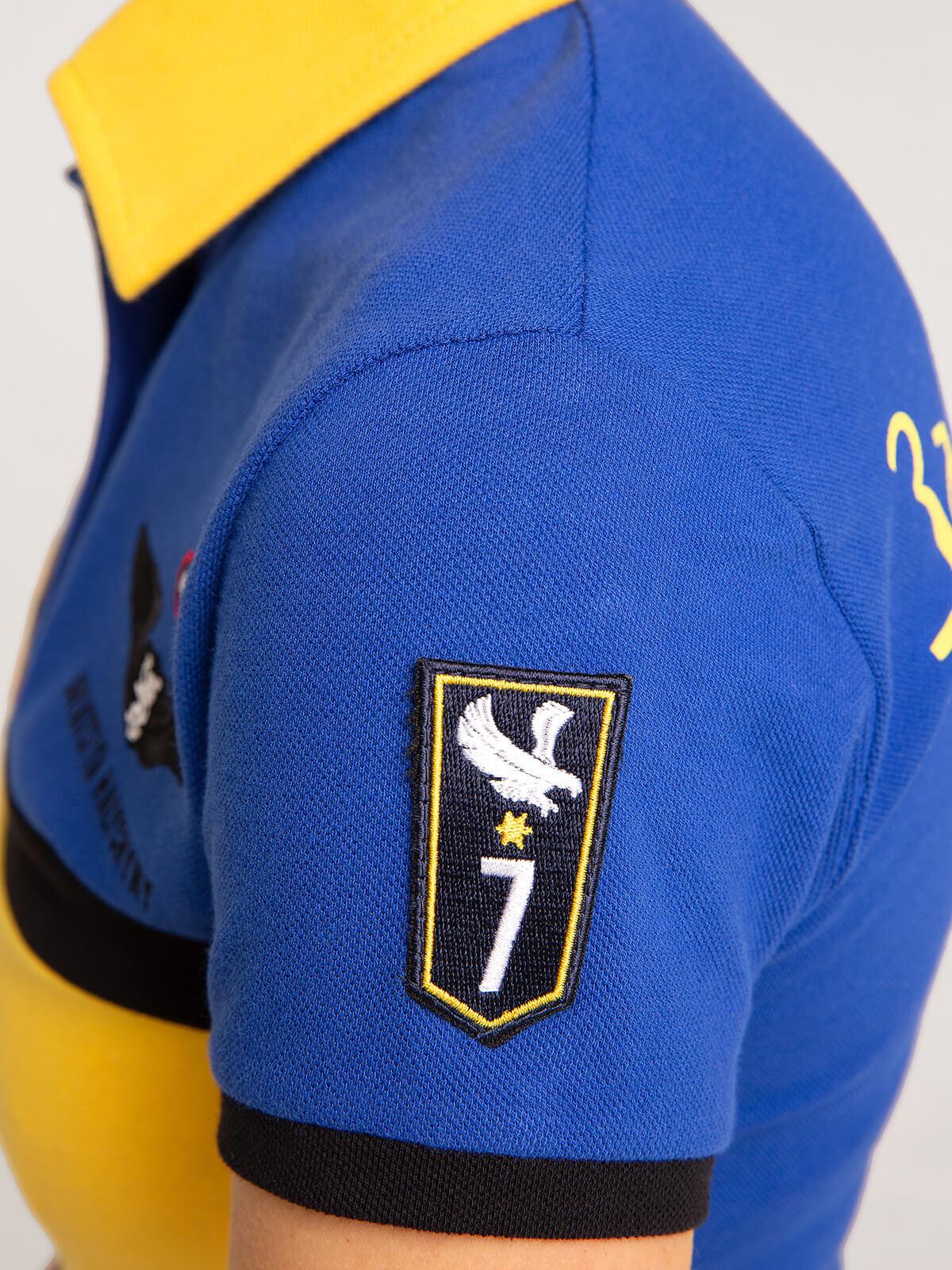 Жіноче Поло 7 Бригада (Петро Франко). Колір синій.  Зріст моделі: 163 см.