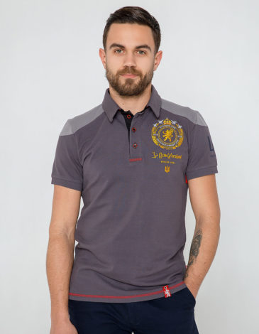 Men's Polo Shirt 100 Years Uga. Color gray. Pique fabric: 100% cotton.