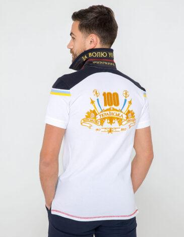 Чоловіче Поло 100 Років Української Авіації. Колір білий. Тканина піке: 100% бавовна.