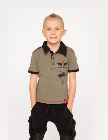 Kids Polo Shirt Sikorsky. Color khaki.  Technique of prints applied: embroidery, silkscreen printing, chevron.
