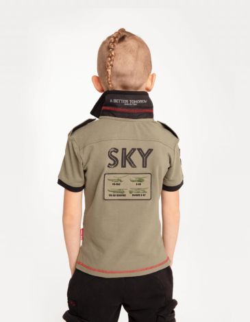 Дитяче Поло Sikorsky. Колір хакі.  Матеріал: 100% бавовна.