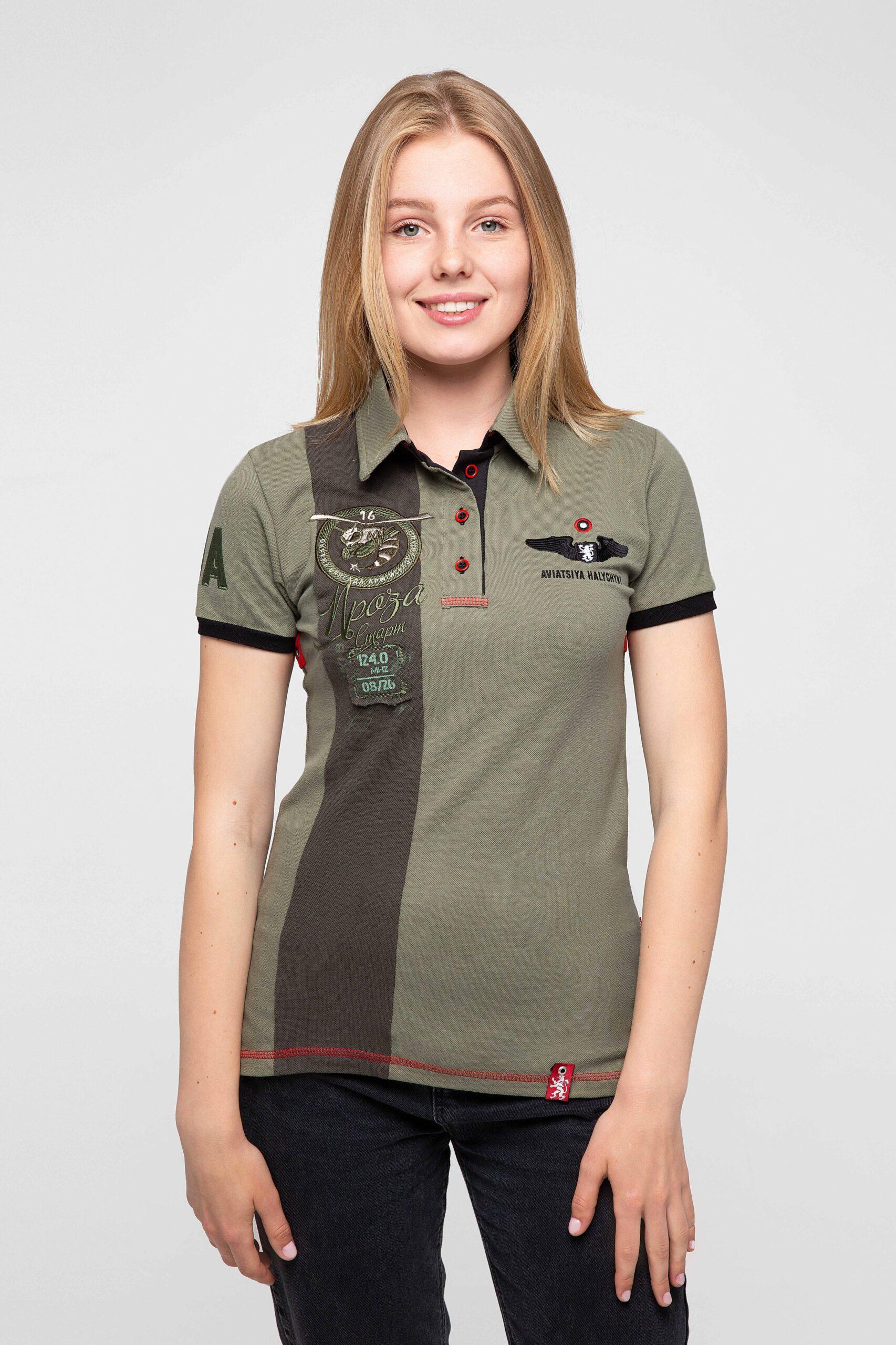 Women's Polo Shirt 16 Brigade. Color khaki. Pique fabric: 100% cotton.
