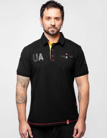 Men's Polo Shirt Seraphim. Color black. Pique fabric: 100% cotton.