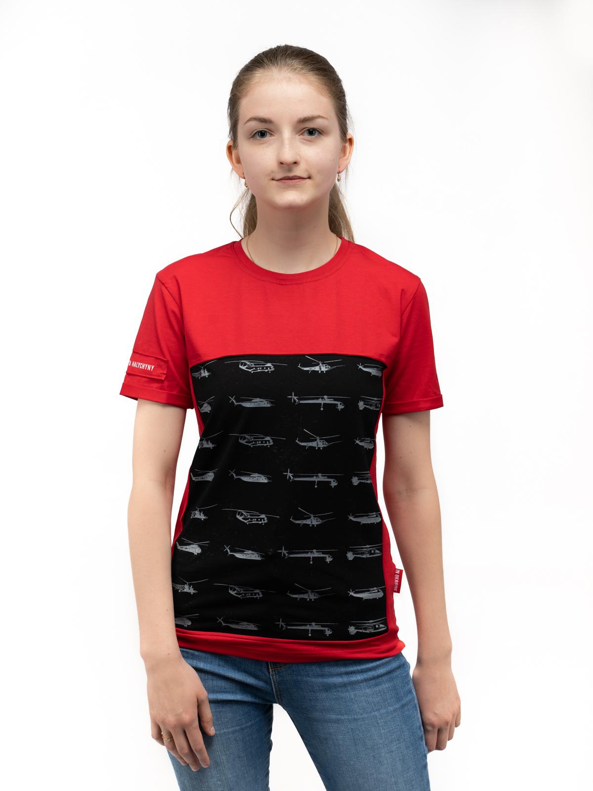 Women's T-Shirt Sikorsky. Color red. Unisex T-shirt (men's sizes).