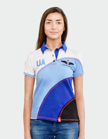 Women's Polo Shirt Baloon. Color sky blue. Pique fabric: 100% cotton.