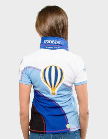 Women's Polo Shirt Baloon. Color sky blue. Pique fabric: 100% cotton.
