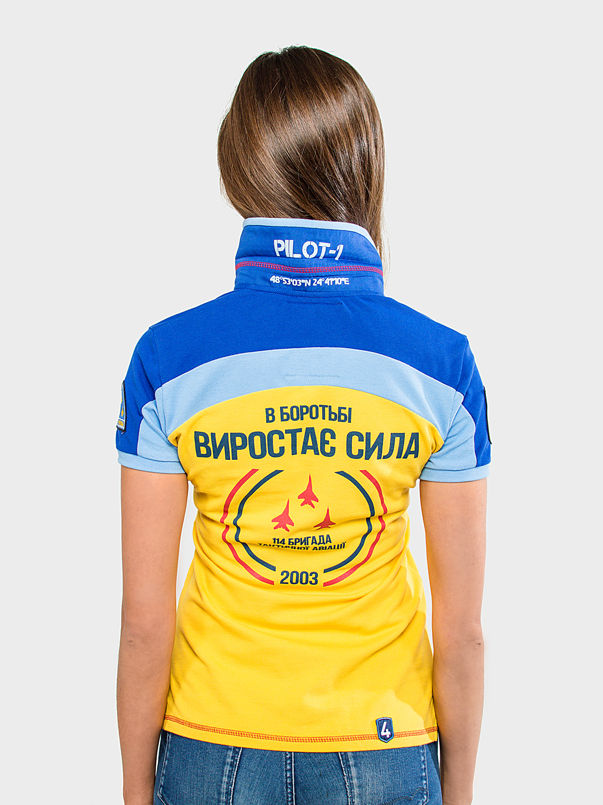 Women's Polo Shirt 114 Brigade (Ivano-Frankivsk). Color yellow.  Технологія нанесення зображень: вишивка, шовкодрук, шеврони.