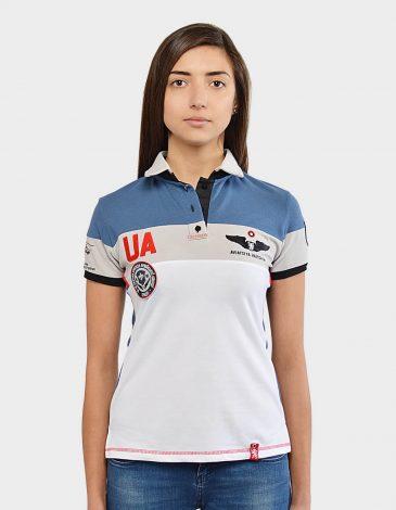 Women's Polo Shirt 16 Brigade. Color denim. Цей продукт наявний В ОСТАННІХ ЕКЗЕПЛЯРАХ і більше ВИГОТОВЛЯТИСЬ НЕ БУДЕ.