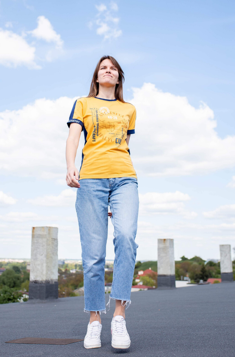 Women's T-Shirt Аn-26. Color yellow.  It looks great on a female figure! Material: 95% cotton, 5% spandex.