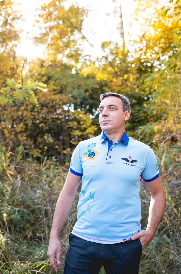 Men's Polo Shirt Ukrainian Falcons. Color sky blue.  The color shades on your screen may differ from the original color.