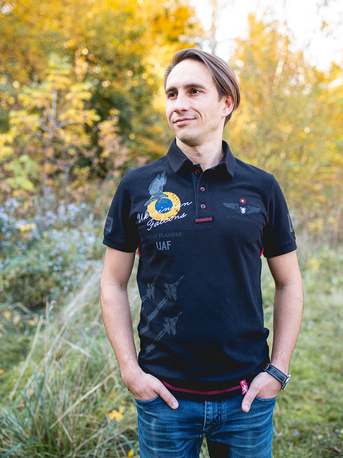 Men's Polo Shirt Ukrainian Falcons. Color black.  Height of the model: 182 cm.