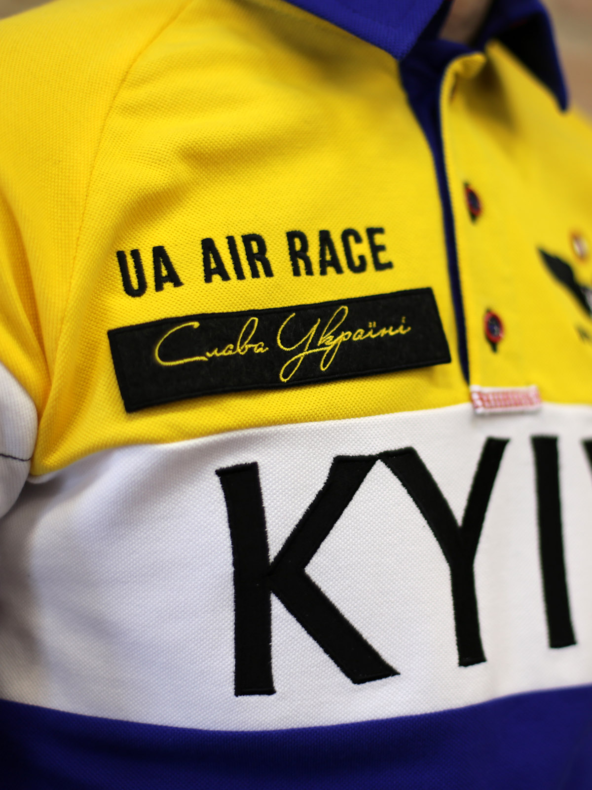Men's Polo Long Air Race Kyiv. Color navy blue.  Size worn by the model: S.