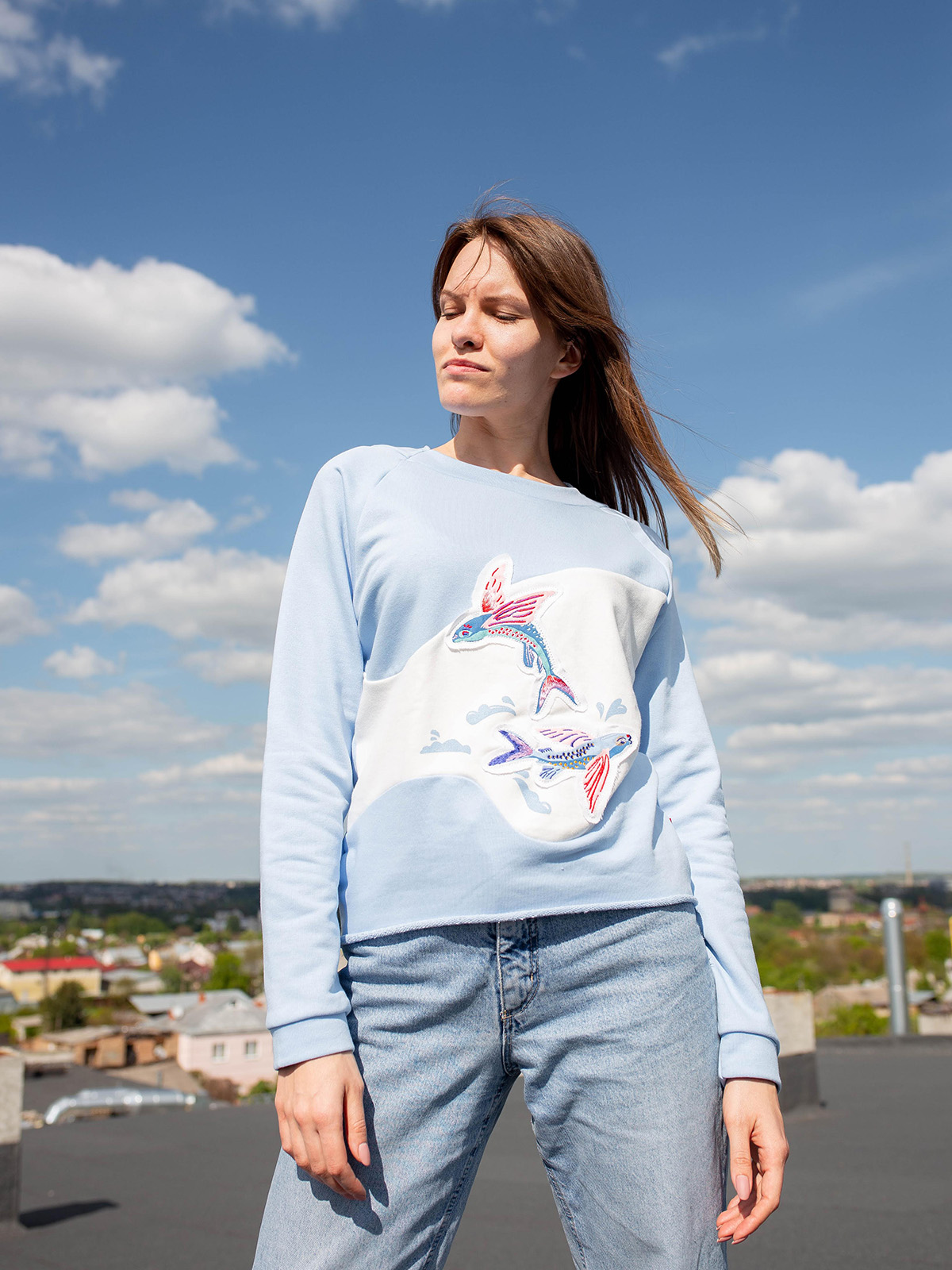 Women's Sweatshirt Flying Fishes. Color sky blue.  Size worn by the model: S.
